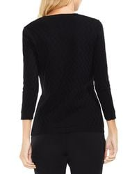 Vince Camuto Black Textured Stitch Sweater