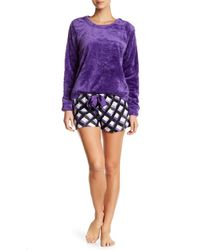 Hue - Purple Hashtag Plaid Plush 2-piece Pajama Set - Lyst