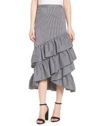 Chelsea28 Black Gingham Ruffle Skirt