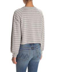 Lush Gray Striped Balloon Sleeve Crop Sweatshirt