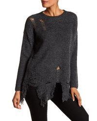 Dreamers By Debut - Gray Distressed Sweater - Lyst