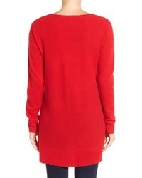 Halogen - Red High/low Wool & Cashmere Tunic Sweater - Lyst