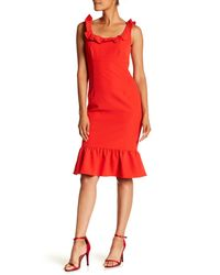 Nanette Lepore Red Ruffle Trim Solid Dress