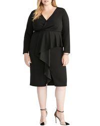 RACHEL Rachel Roy Black Long Sleeve Wrap Top Ruffle Front Dress