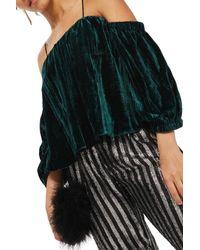 TOPSHOP - Green Cold Shoulder Velvet Top - Lyst