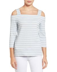 Kut From The Kloth | Blue Fridi Texture Stripe Cold Shoulder Tee | Lyst