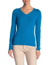 In Cashmere - Blue V-neck Cashmere Sweater - Lyst