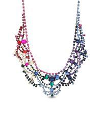 Steve Madden - Gray Multi-cut Rhinestone Bib Necklace - Lyst