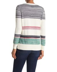 Barbour Gray Stripe Crew Neck Knit Sweater