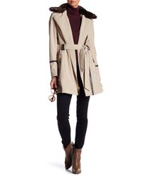 Via Spiga | Natural Detachable Faux Fur Trench Coat | Lyst