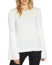 Cece by Cynthia Steffe White Pleated Bell-sleeve Sweater
