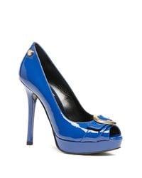 Love Moschino | Blue Peep Toe Pump | Lyst