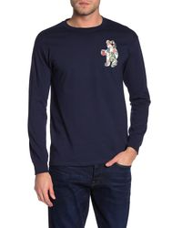 Riot Society Blue Front Graphic Long Sleeve T-shirt for men