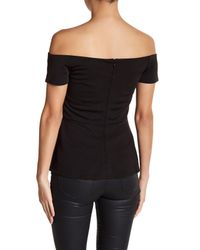Romeo and Juliet Couture Black Off-the-shoulder Sweetheart Peplum Top