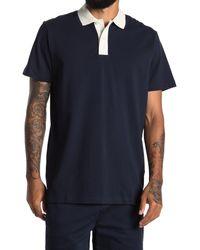 SELECTED Blue Short Sleeve Polo for men