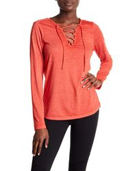 Marc New York - Pink Long Sleeve Lace-up Tee - Lyst