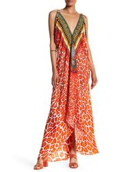 Shahida Parides Red Convertible Print Hi-lo Maxi Dress