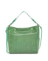 Sorial Green Sammy Lizard Embossed Leather Hobo Bag