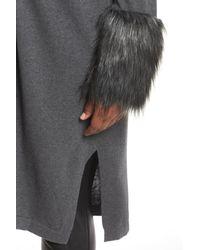 Vince Camuto Gray Faux Fur Cuff Cotton Blend Cardigan (plus Size)