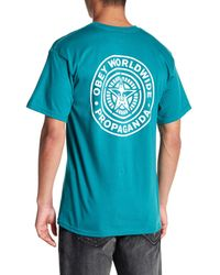 Obey Blue Worldwide Seal Tee for men