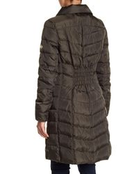 MICHAEL Michael Kors - Green Puffer Quilted Faux Fur Down And Feather Filled Jacket - Lyst