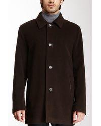 Cole Haan Black Classic Genuine Lambskin Trim Topper Coat for men