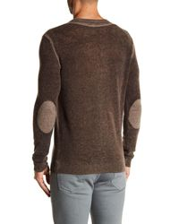 Autumn Cashmere Brown Inked Elbow Patch Cashmere Sweater for men