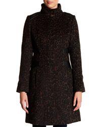 Via Spiga - Black Funnel Collar Muted Leopard Print Faux Leather Trim Coat - Lyst