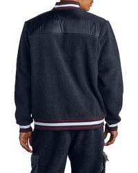 Champion Blue Fleece Baseball Jacket for men