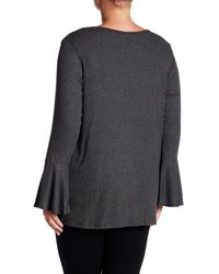 Bobeau Gray Ribbed Bell Sleeve Top (plus Size)