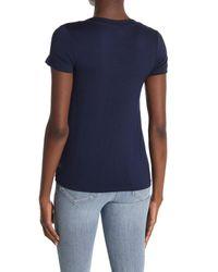 Bobeau Blue Short Sleeve Crisscross Twist Front T-shirt