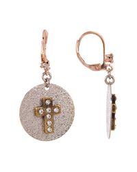 Betsey Johnson - Multicolor Cross Disc Drop Earrings - Lyst