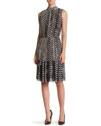 St. John Black Mock Neck Accordion Dress