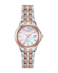 Citizen Metallic Women's Eco-drive Diamond Accent Two-tone Stainless Steel Bracelet Watch - 0.0053 Ctw