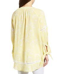 Caslon - Yellow (r) Tie Sleeve Woven Tunic - Lyst