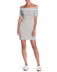 English Factory - White Off Shoulder Stripe Dress - Lyst