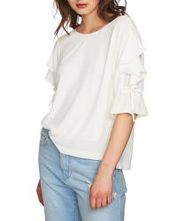 1.STATE White Ruffle Tie Sleeve Blouse