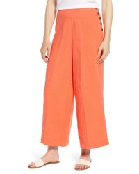 Lou & Grey Orange Wide Leg Linen Pants