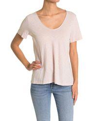 Michael Stars Pink Kayla Cotton V-neck T-shirt