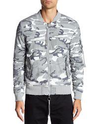 KUWALLA - Gray Garment Dye Camo Bomber for Men - Lyst