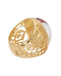 Baccarat - Metallic Favorite Gold Vermeil Oval Crystal Filigree Ring - Size 5.5 - Lyst