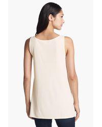 Eileen Fisher White Scoop Neck Silk Tunic (petite)