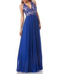 Carmen Marc Valvo - Blue Petals Halter Gown - Lyst