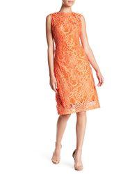 Sharagano - Orange Lace Tank Dress - Lyst