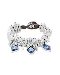 Uno De 50 Blue Stalactite Bezel Set Swarovski Element Accented Beaded Multi-strand Bracelet