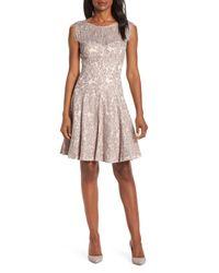 Eliza J Gray Lace Fit & Flare Dress