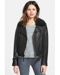 MICHAEL Michael Kors Black Genuine Lamb Shearling Collar Two-tone Genuine Leather Moto Jacket
