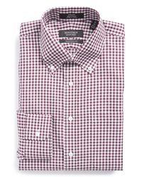 Nordstrom - Purple Trim Fit Non-iron Gingham Dress Shirt for Men - Lyst