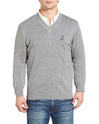 Psycho Bunny - Gray V-neck Sweater for Men - Lyst