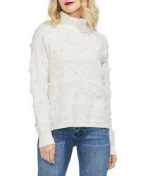 Vince Camuto White Geometric Fringe Turtleneck Sweater